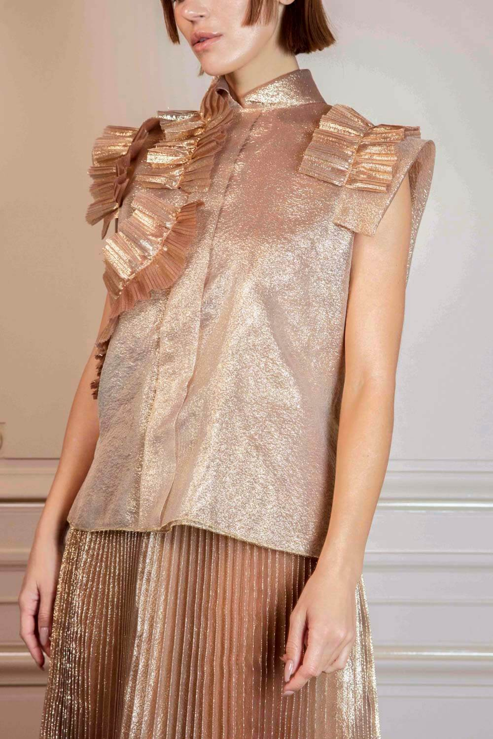 Translucent gold top with mandarin collar and frill details on sleeves and corsage