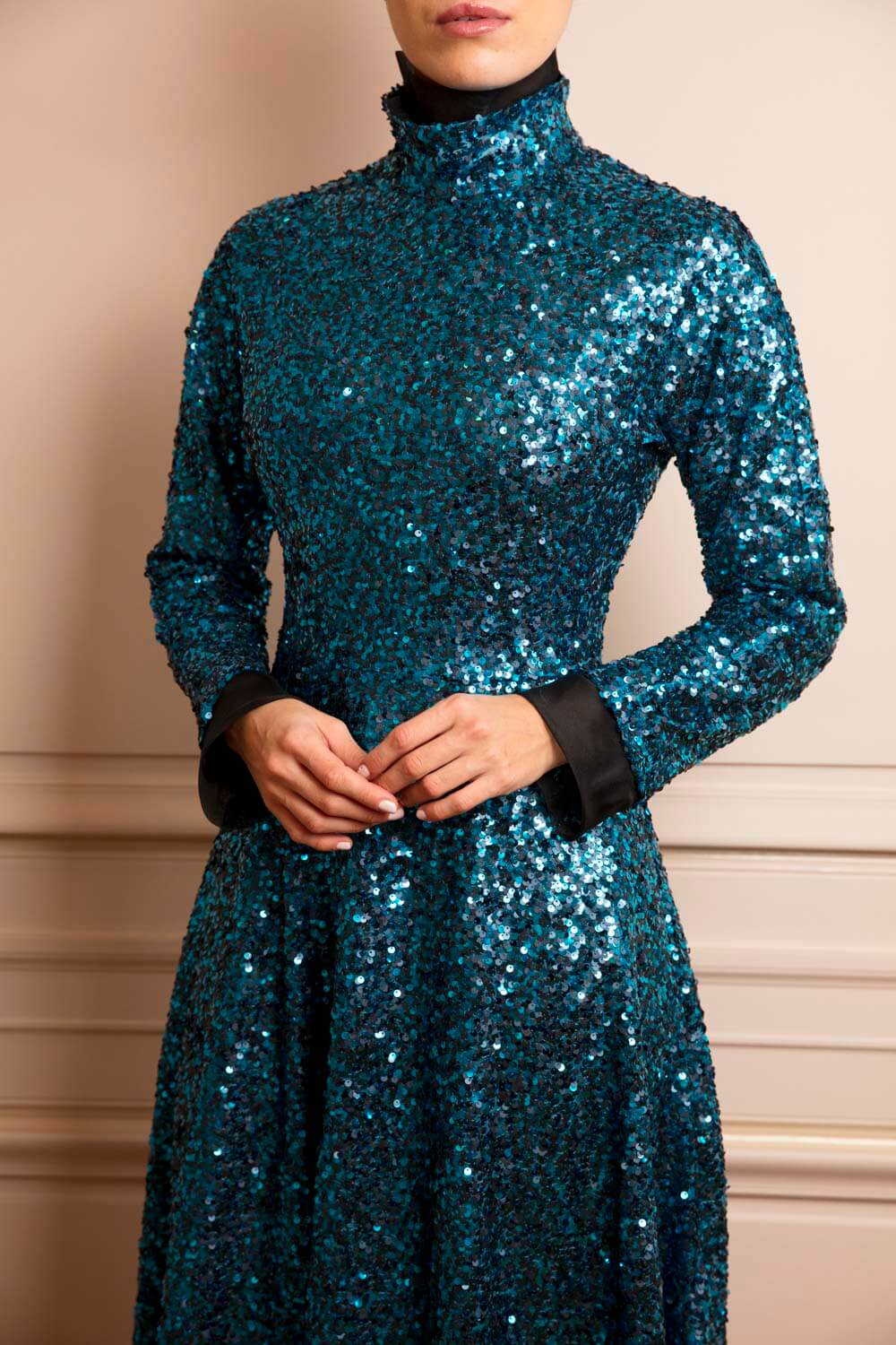 Petrol blue sequinned fit-and-flare knee-length dress
