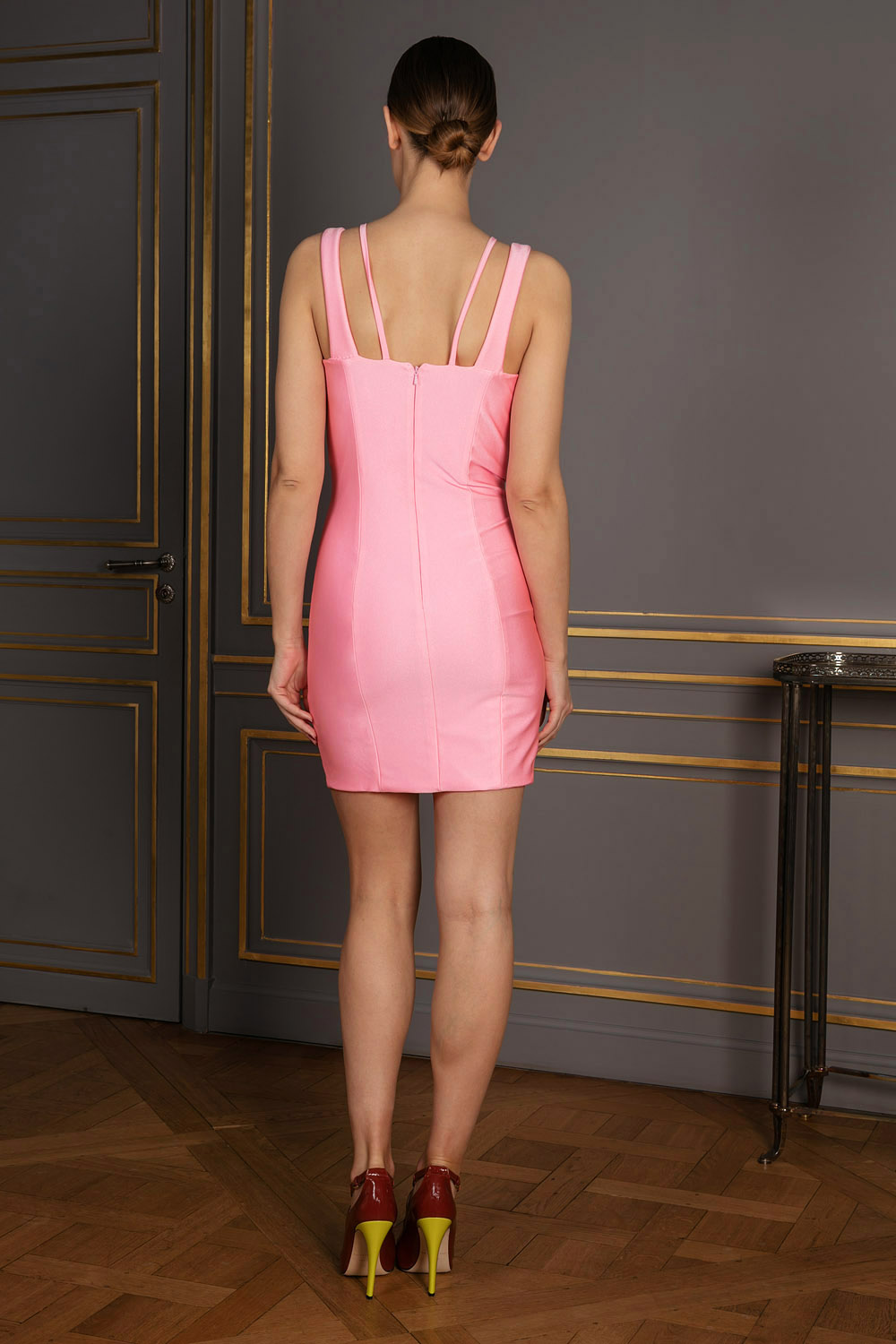 Hot pink stretchy satin body-con mini dress