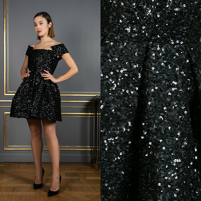 Mini sequin pouf dress