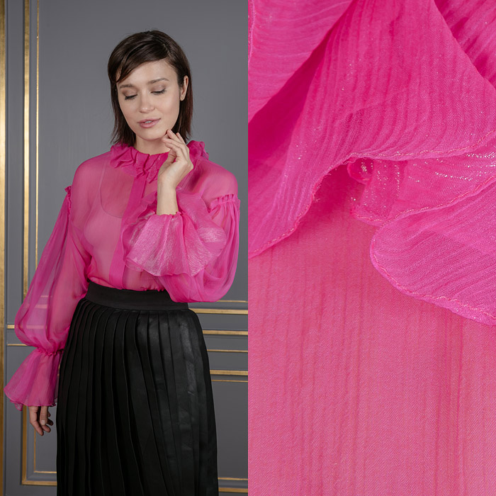 Bright pink sheer shirt