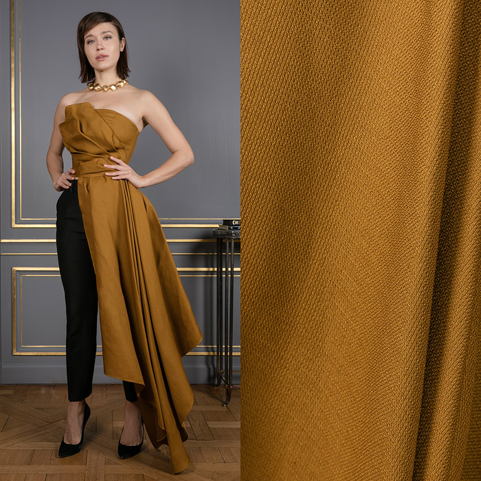 Bronze top with an asymmetric hemline