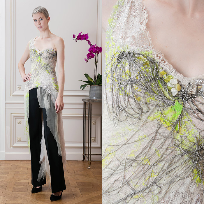 Green haute couture silk dress