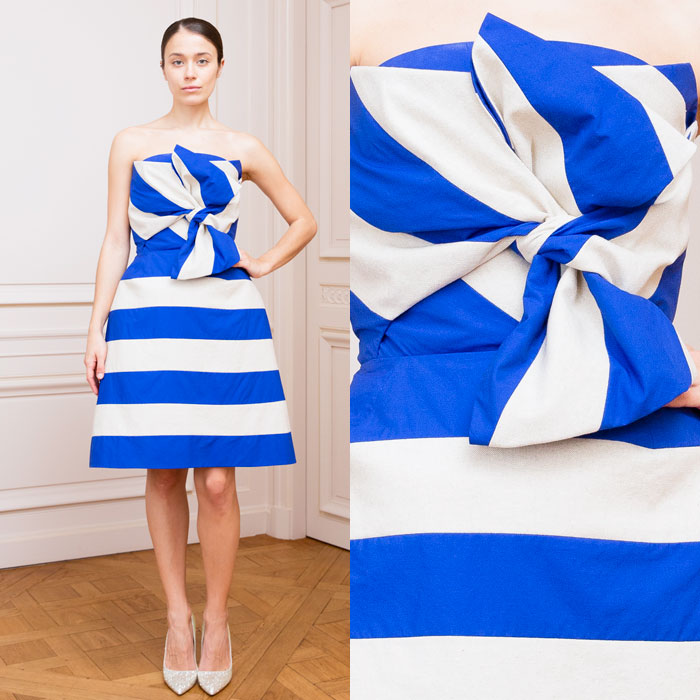 Blue and ivory striped bustier dress
