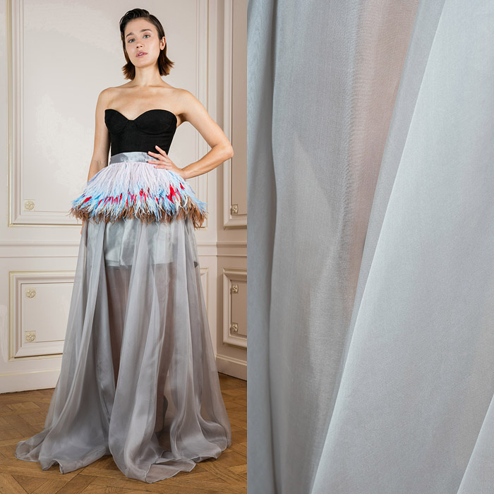 Floor-length semi transparent skirt with feathers