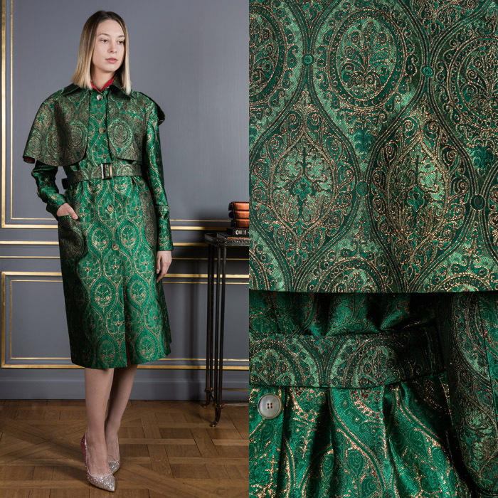 Green with gold embroidery mini-length coat