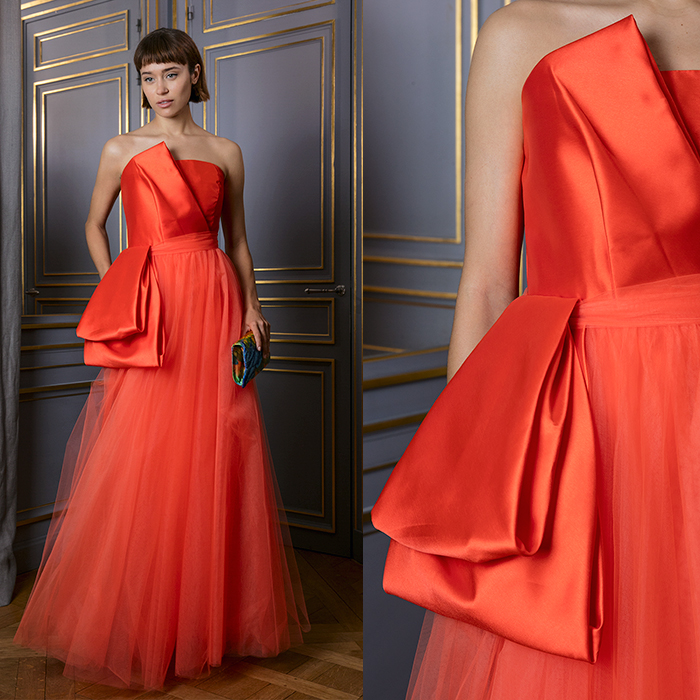 Strapless orange floor-length gown