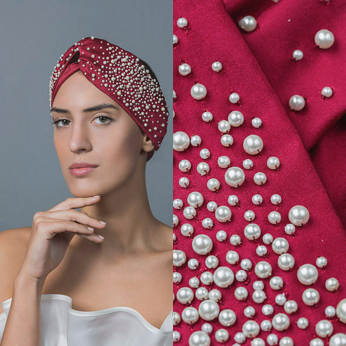 RED TWISTED SATIN AND PEARL EMBELLISHED HEAD BAND