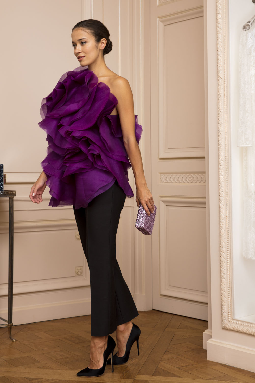 Violet one-shouldered ruffle top