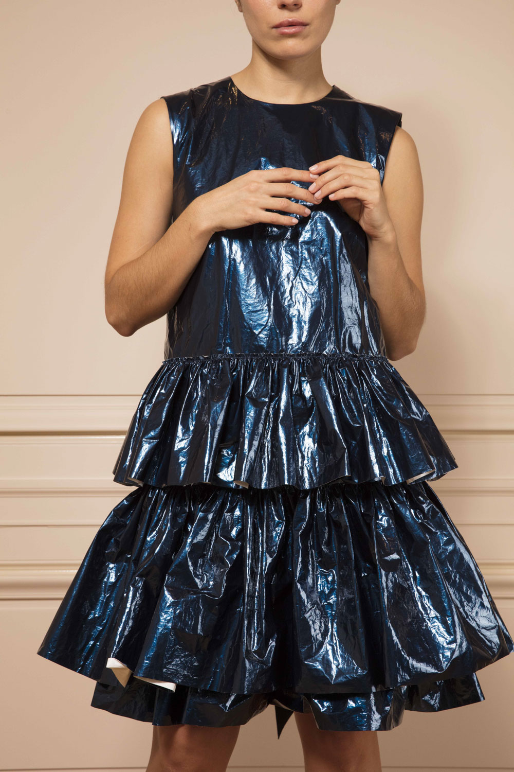 Navy metallic ruffled dress with crinkled paper finish